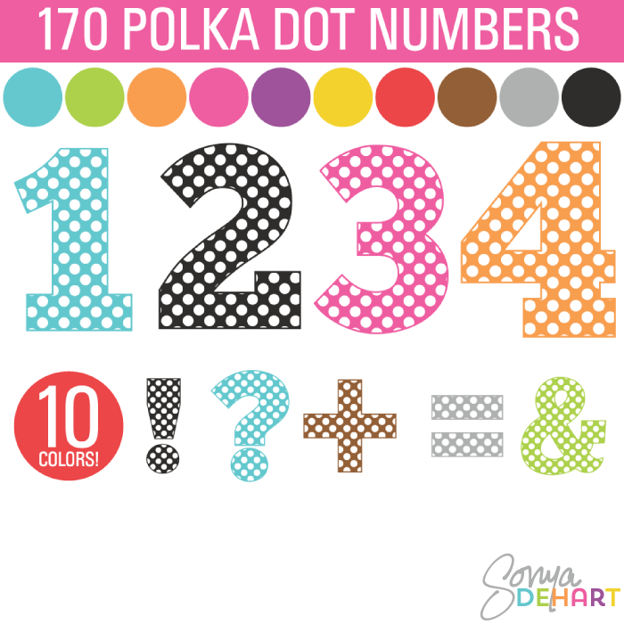 1 clipart dotted number.