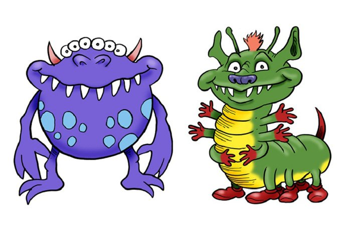 2 clipart monsters.