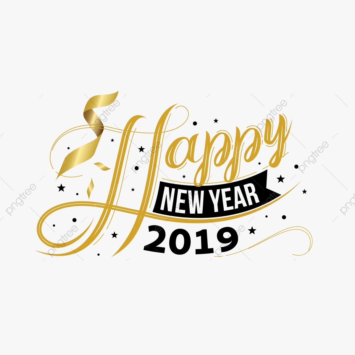 happy new year 2019 clipart transparent background