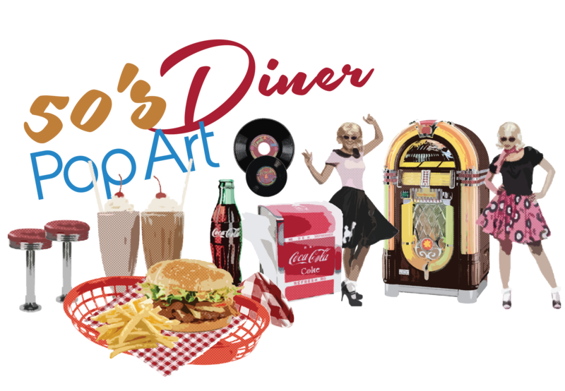 50s clipart diner food.