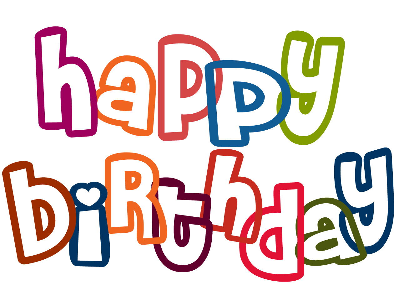 happy birthday clipart lettering