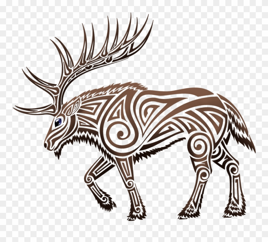 deer head clipart tribal