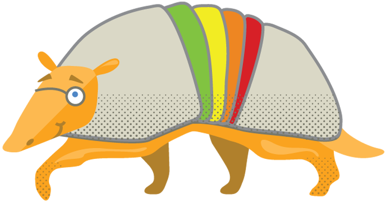Armadillo clipart colorful.
