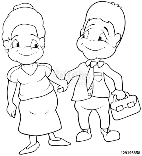 Aunt clipart black and white.