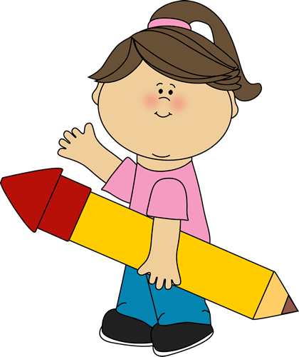paper and pencil clipart kid