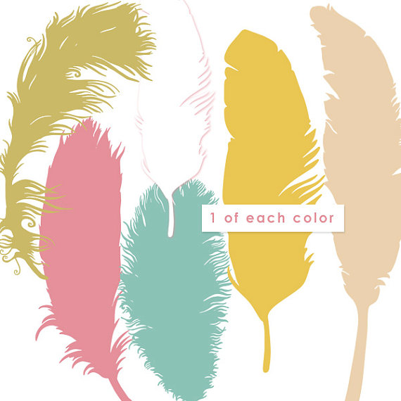 Aztec clipart colorful feather.