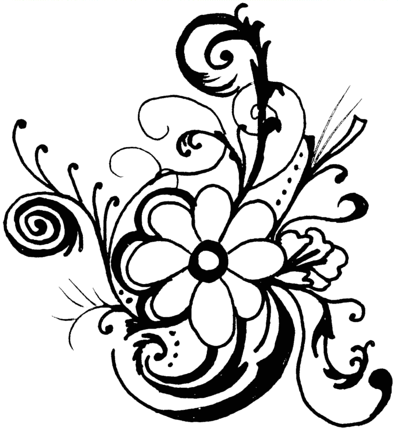 flower black and white clipart wedding