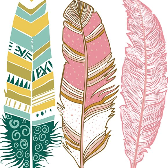 Aztec clipart pink feather.