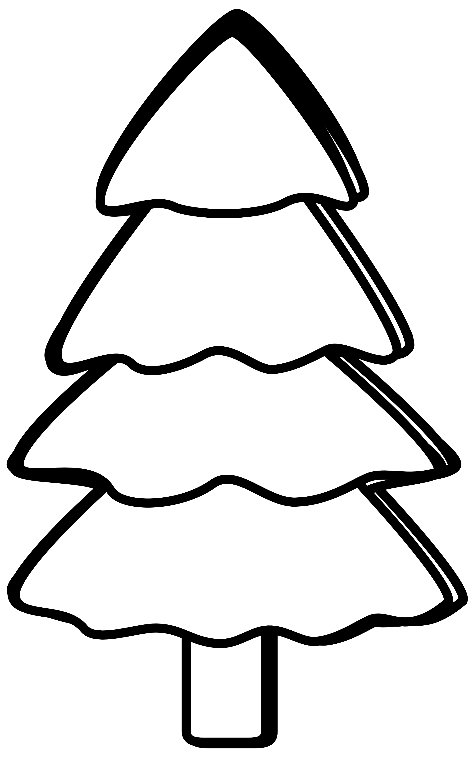 christmas tree clipart black and white simple