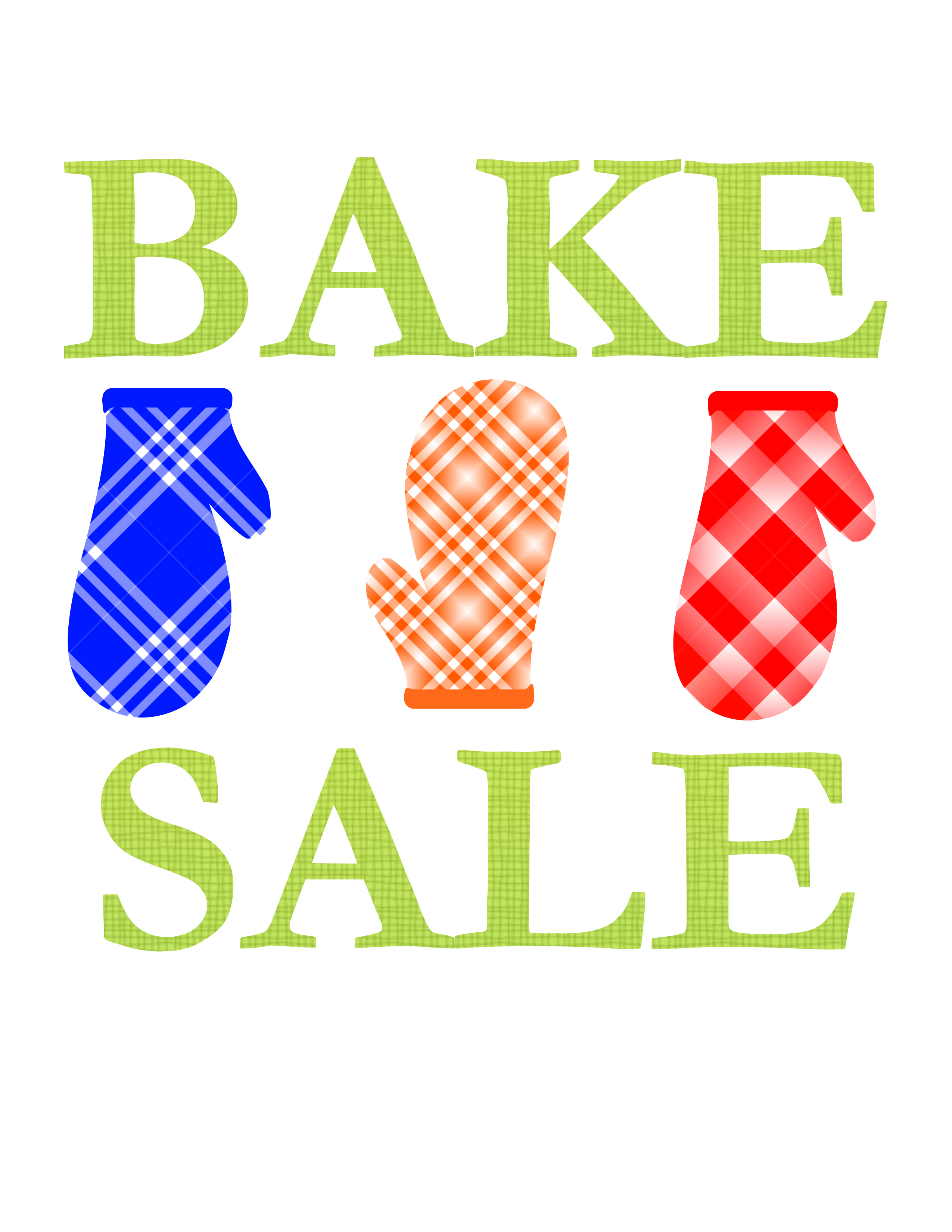 Bake sale clipart poster.