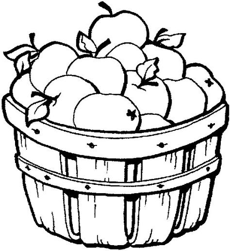 Basket clipart coloring book.