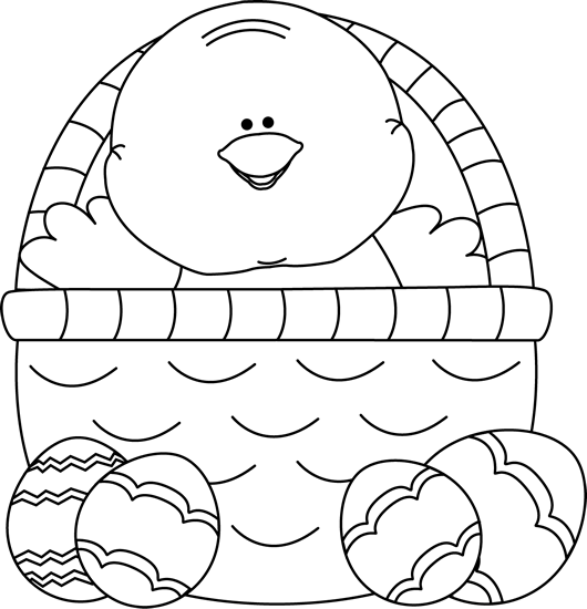 easter black and white clipart chick