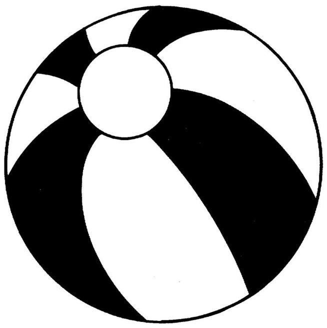 Beach ball clip art black and white.
