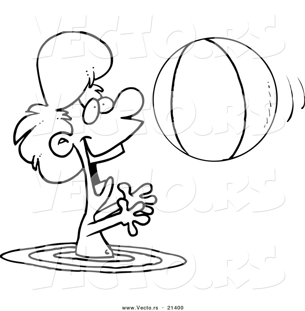 Beach ball clip art coloring page.