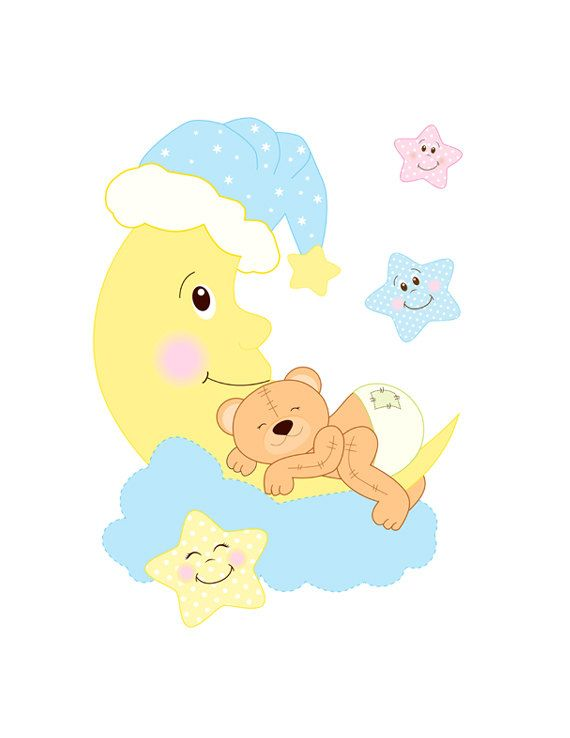 moon and stars clipart baby