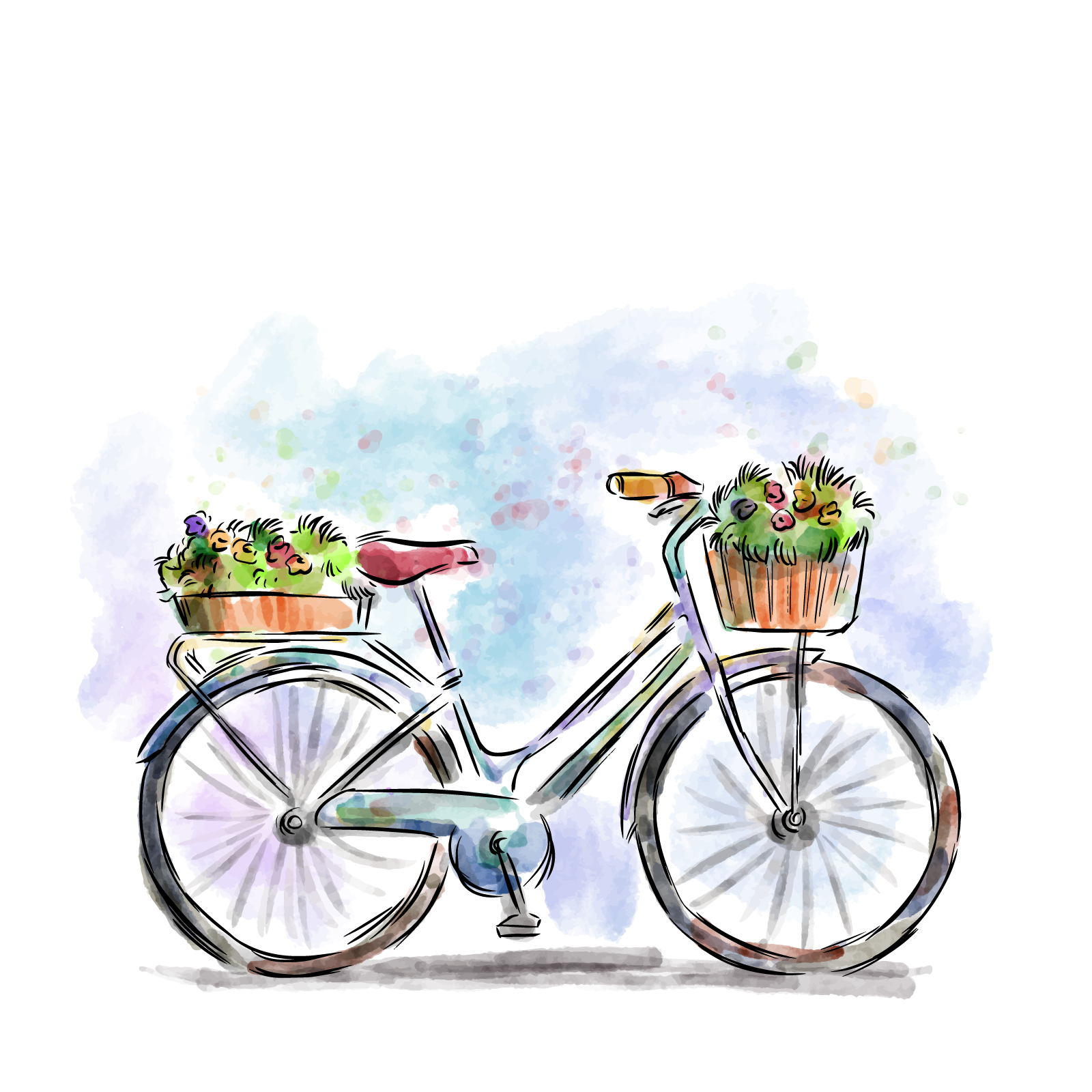 Bicycle clipart basket vector.
