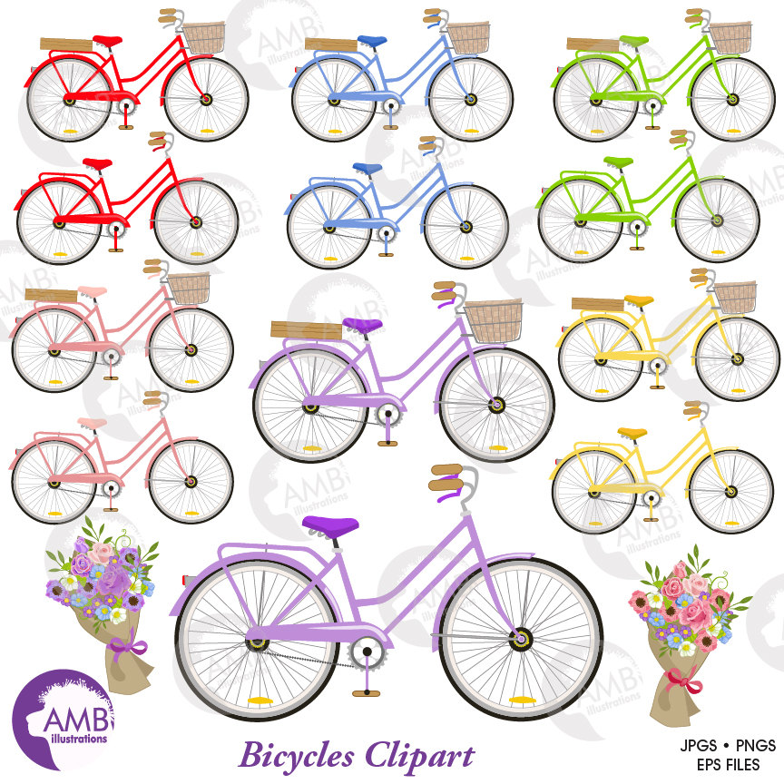 Bicycle clipart colorful.