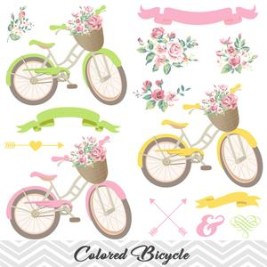 Bicycle clipart floral.