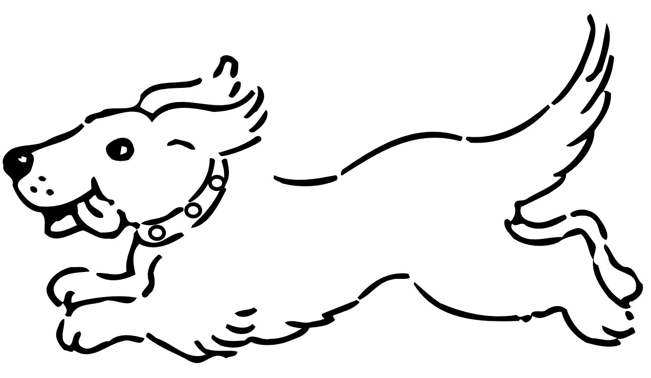 free black and white clipart dog