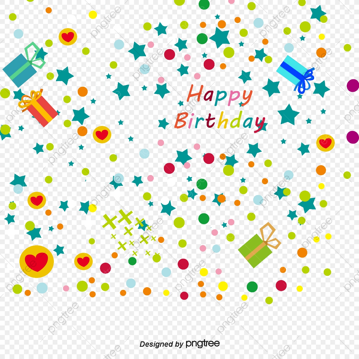 Free happy birthday clipart decoration.