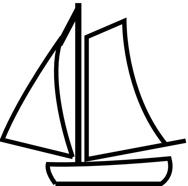 Boat clipart black and white.