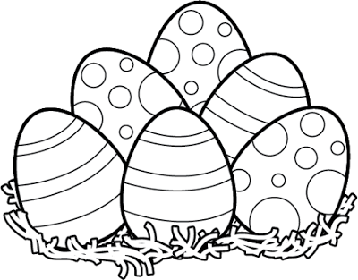 easter black and white clipart bunny