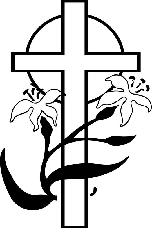 easter black and white clipart cross