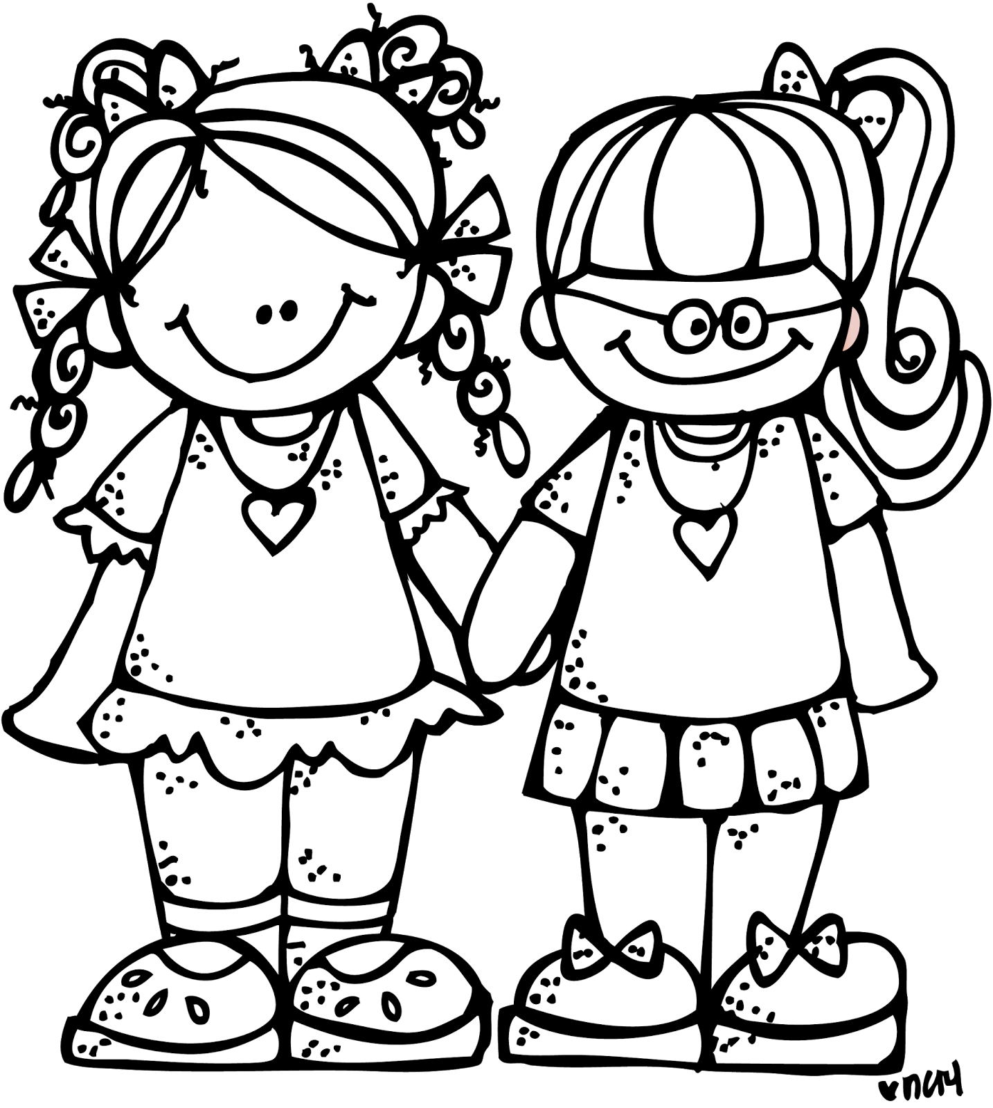 Black clipart friends.