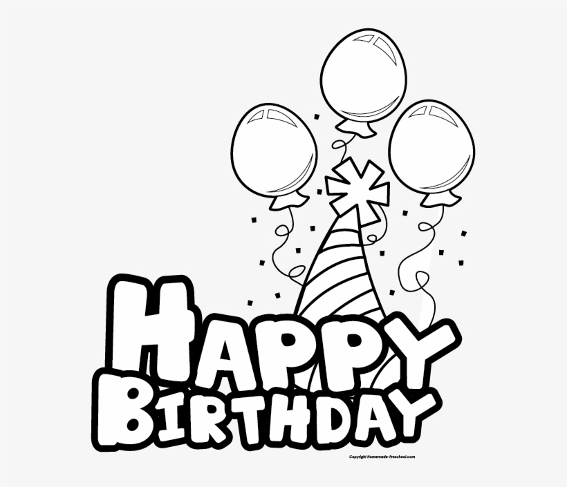 birthday cake clipart black and white happy