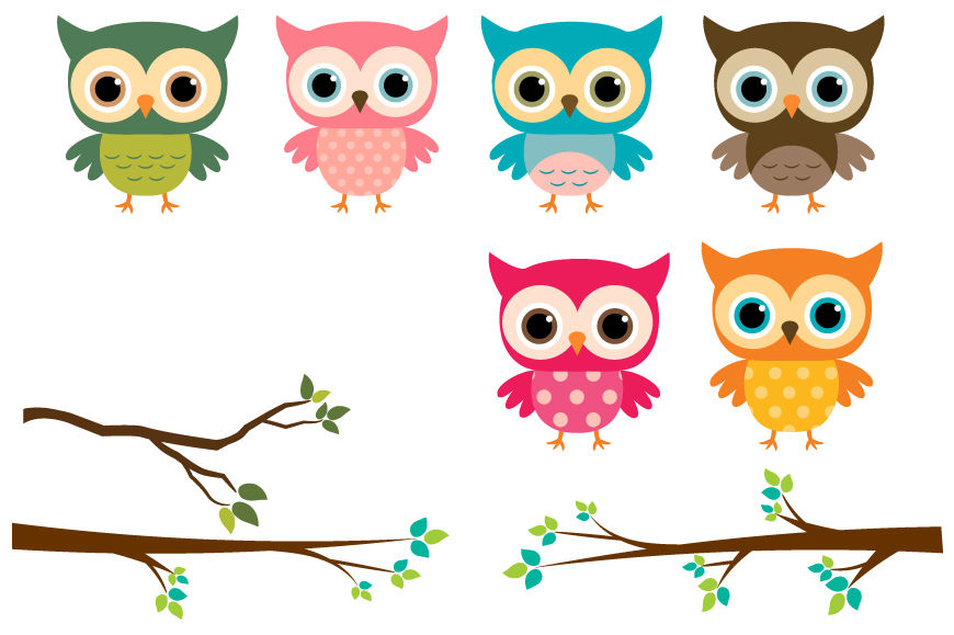 clipart owl colorful