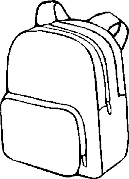 backpack clipart lineart