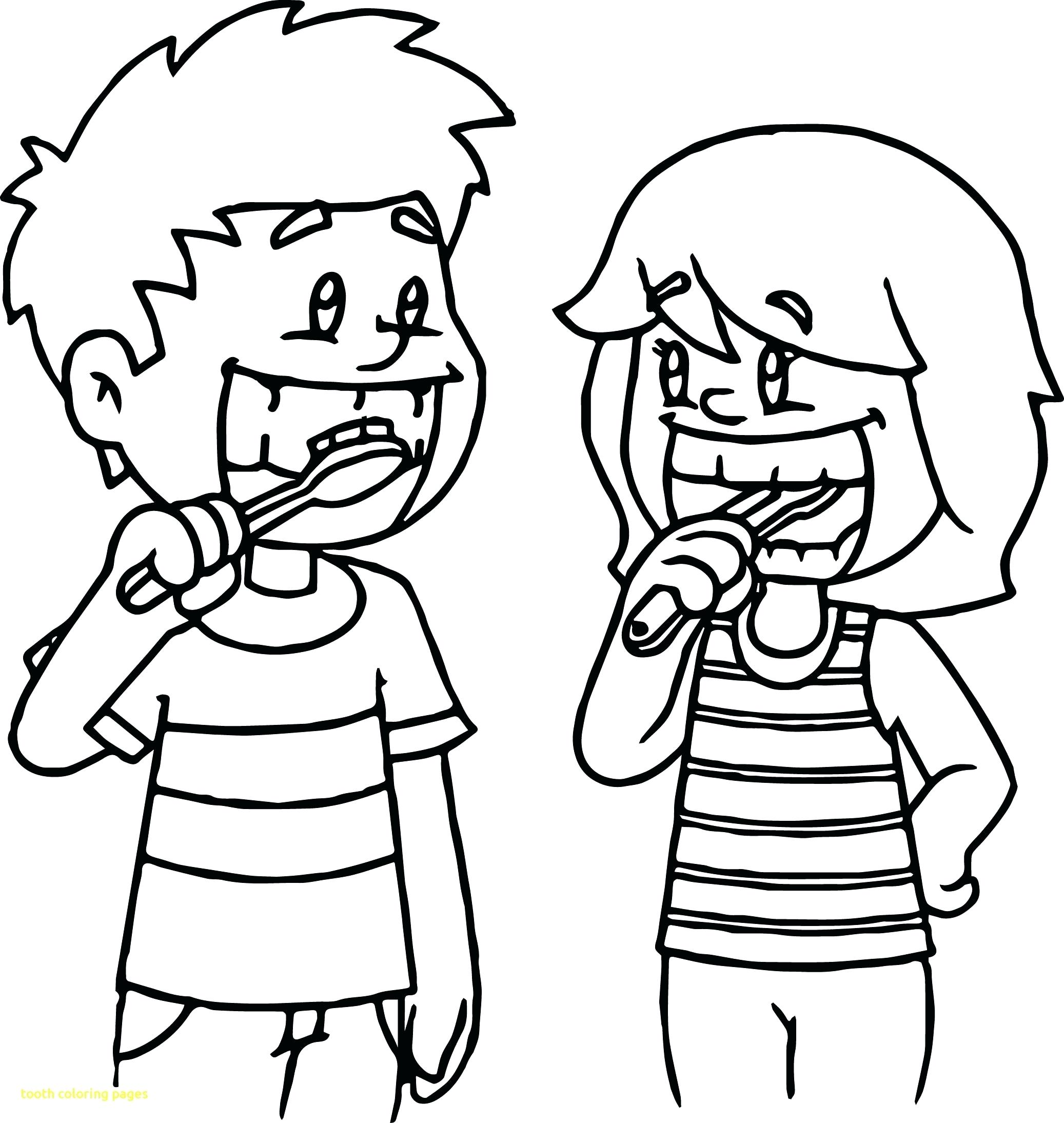 Brushing teeth clipart colouring page.