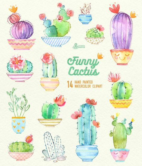 Cactus clipart hand painted.
