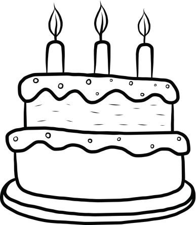 birthday cake clipart black and white drawing