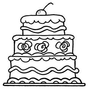 birthday cake clipart black and white coloring