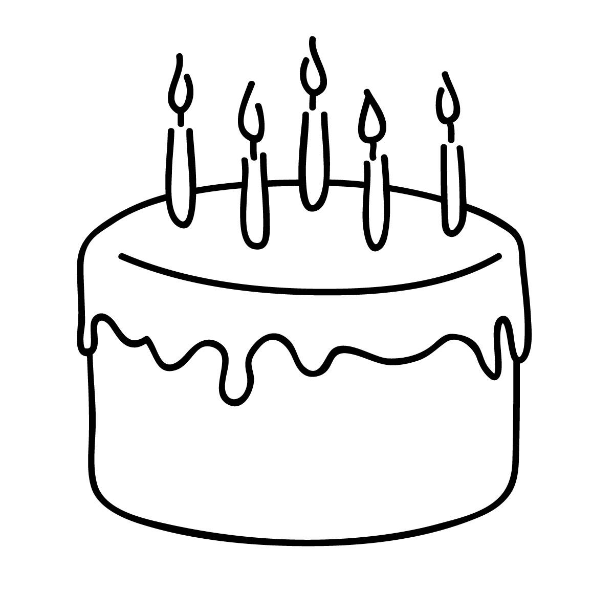 birthday cake clipart black and white cute