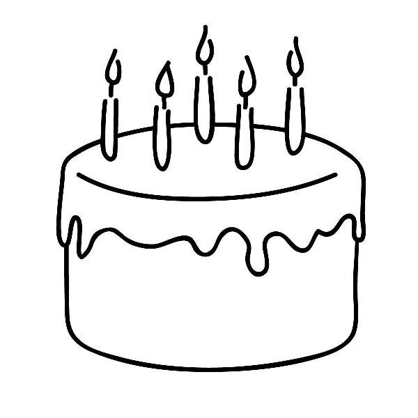 birthday cake clipart black and white celebration