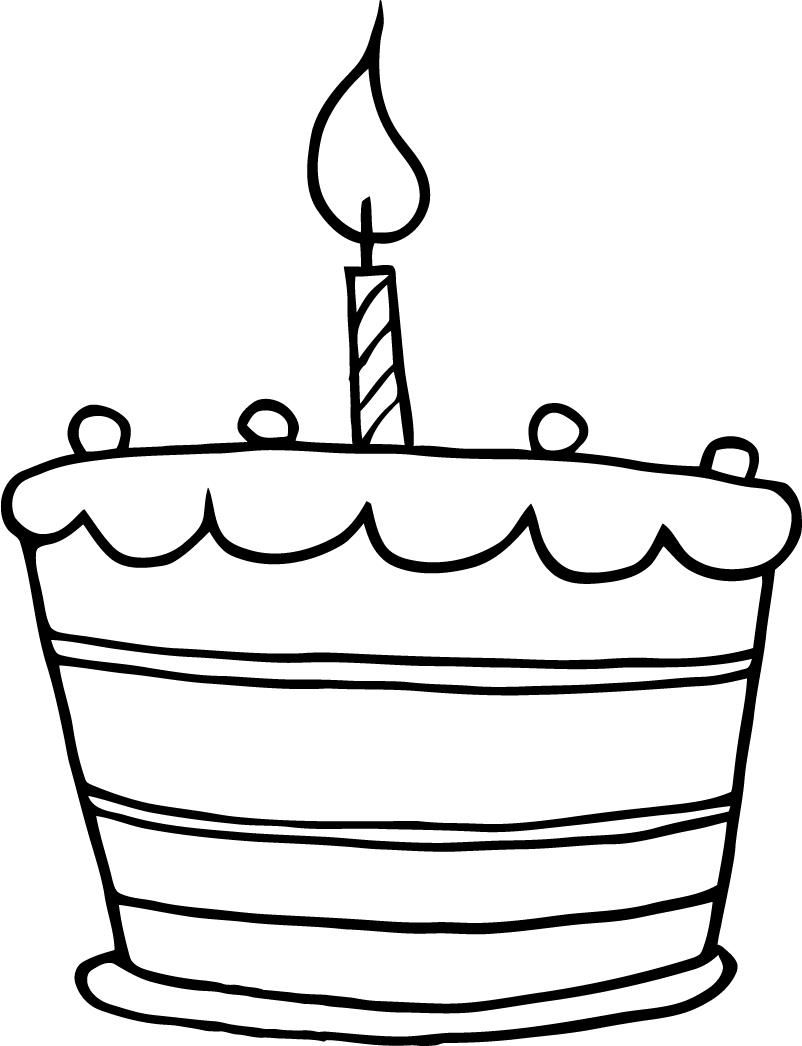 birthday cake clipart black and white cartoon