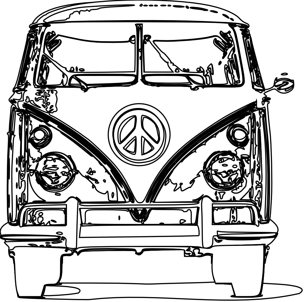 Camper clipart coloring page.