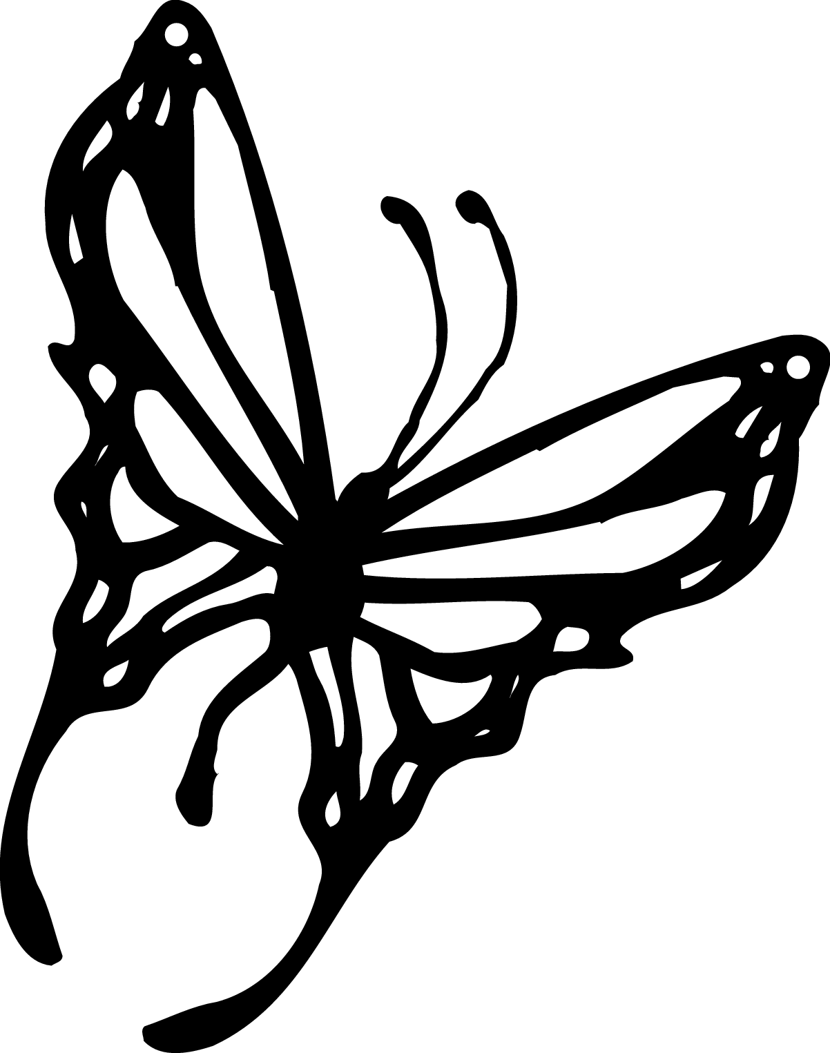 butterfly black and white clipart flying