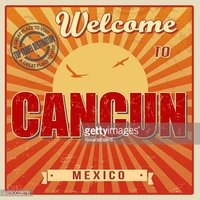 Cancun clipart mexico icono. Vintage poster stock vectors