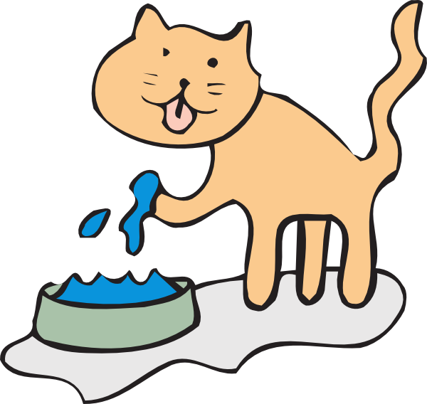 cat clipart drinking water