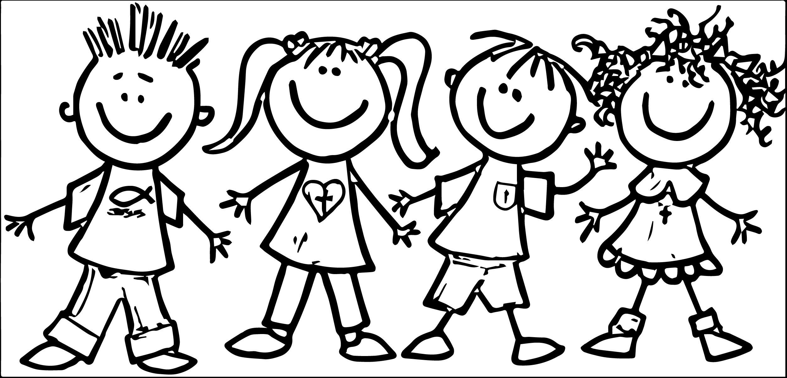 kids clipart black and white playing