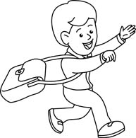 boy clipart black and white outline
