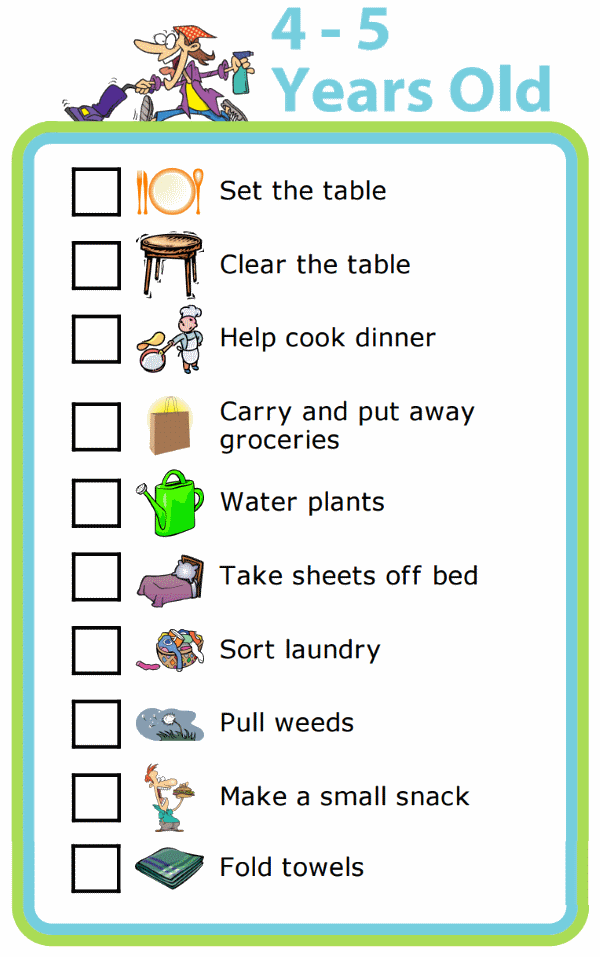 Chores clipart 5 year old.