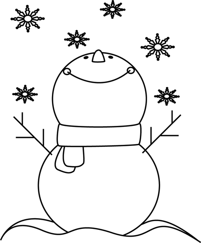 christmas clipart black and white snowman