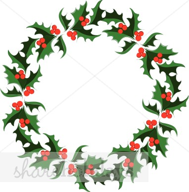 Christmas wreath clipart holly.