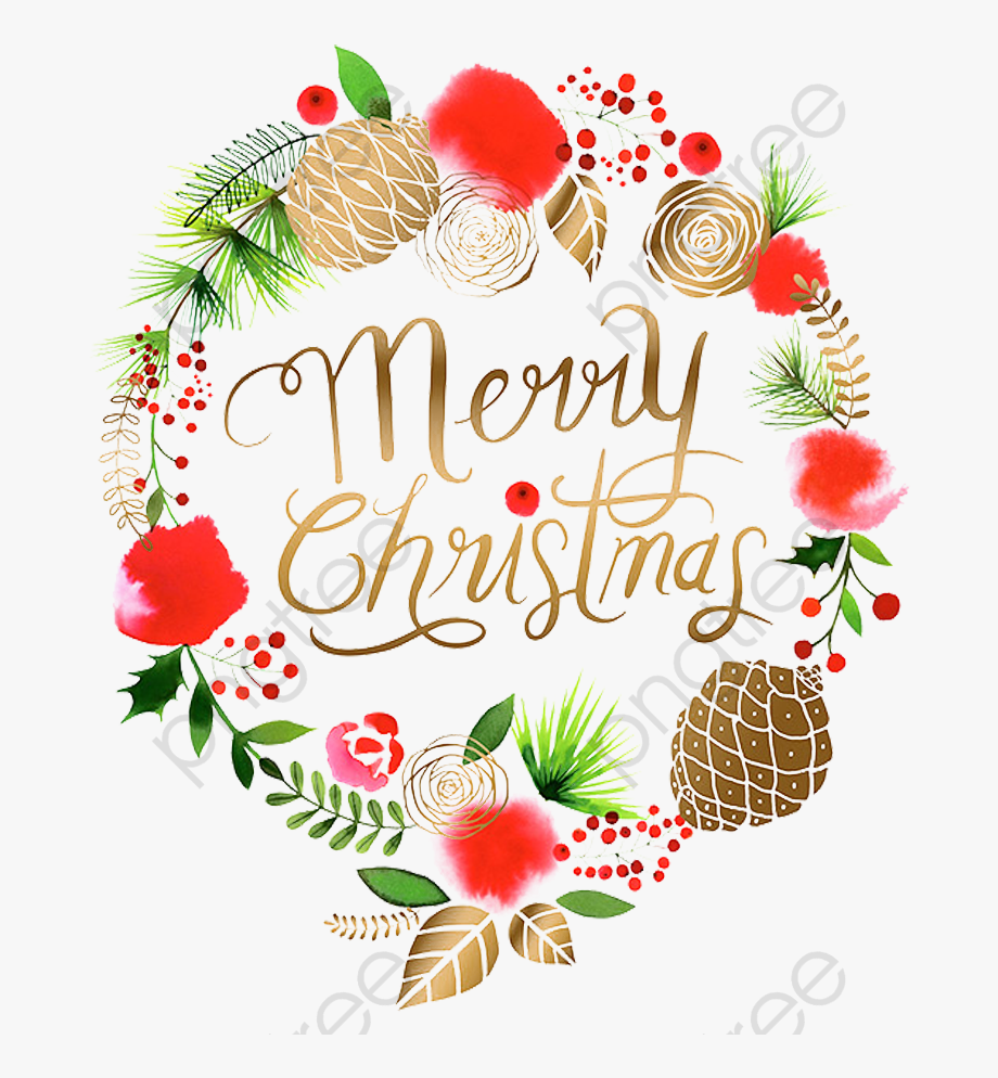 Christmas wreath clipart watercolor.