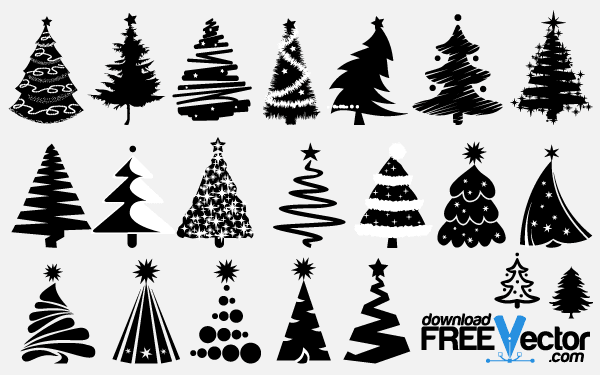 christmas tree clipart black and white vector