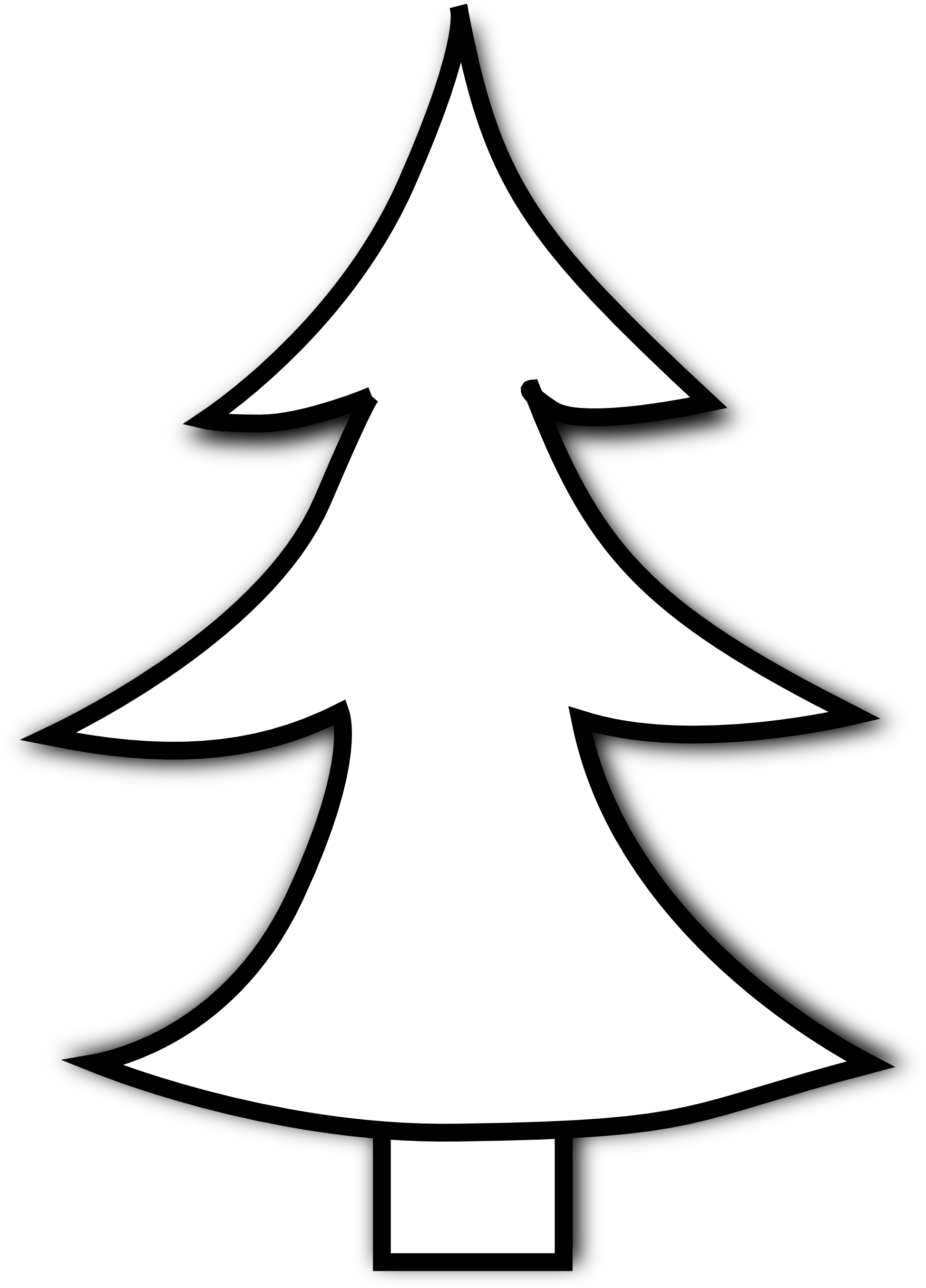 christmas tree clipart black and white transparent
